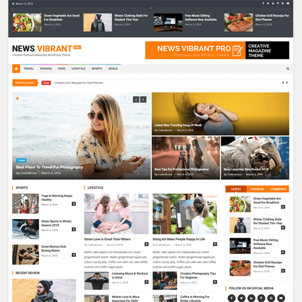 Premium Magazine WordPress Theme – News Vibrant Pro