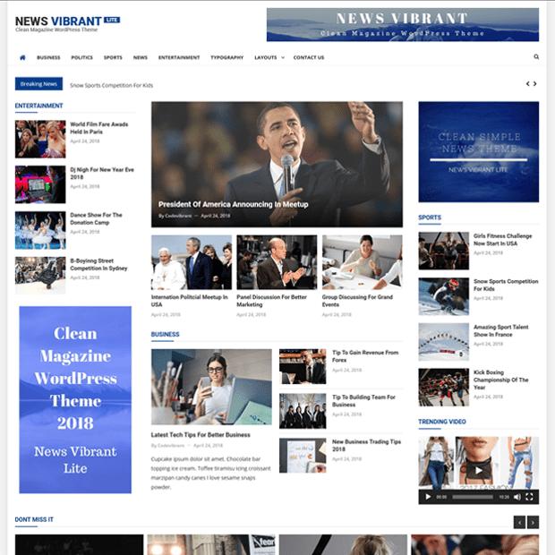 Clean Magazine WordPress Theme – News Vibrant Lite