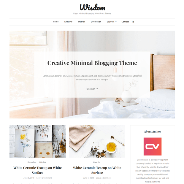 Clean Minimal Blogging WordPress Theme – Wisdom Blog