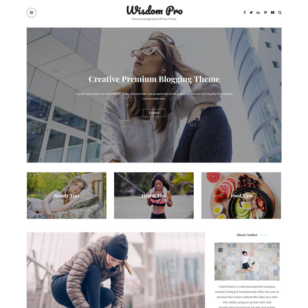 Clean Minimal Blogging WordPress Theme – Wisdom Pro