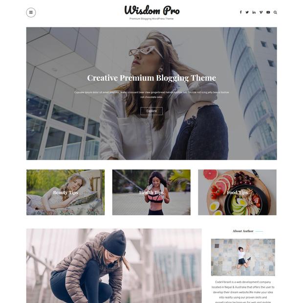Clean Minimal Blogging WordPress Theme – Wisdom Pro