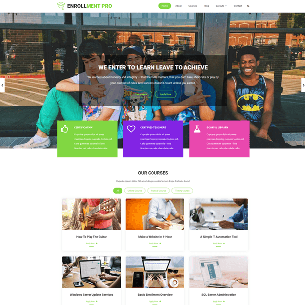 Premium Modern Education WordPress Theme – Enrollment Pro