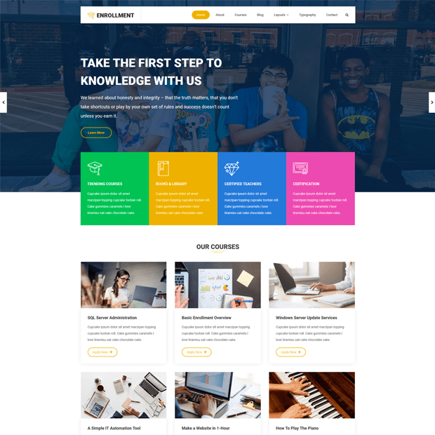 Modern Education WordPress Theme – Enrollment