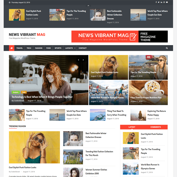 Creative Free Magazine WordPress Theme – News Vibrant Mag