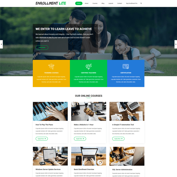 Creative Education WordPress Theme – Enrollment Lite
