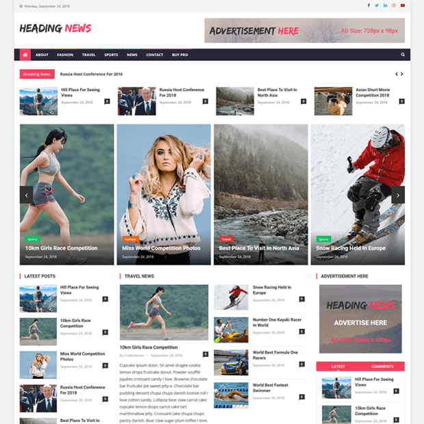 Creative Free Magazine WordPress Theme – Heading News