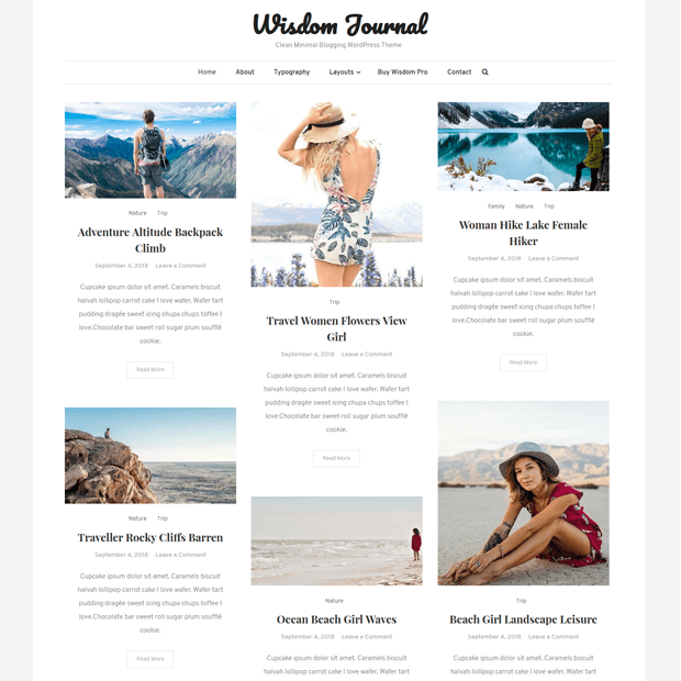 Clean Minimal Blogging WordPress Theme – Wisdom Journal