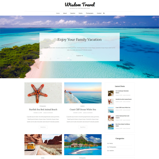 Clean Minimal Blogging WordPress Theme – Wisdom Travel