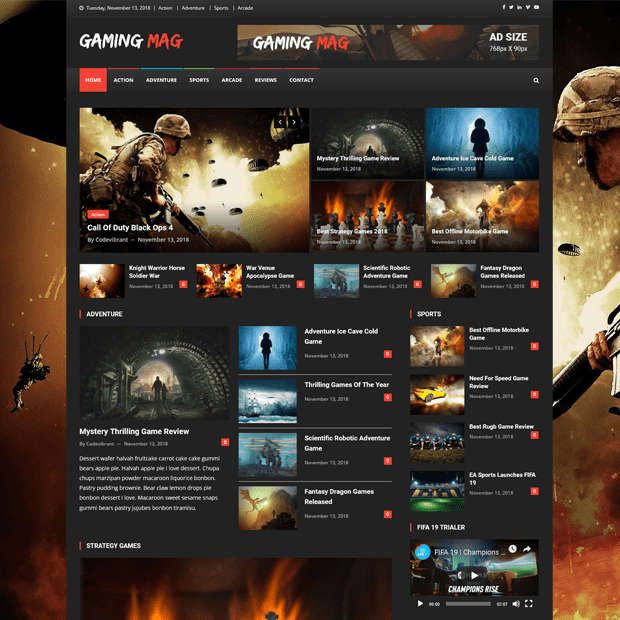 Creative Gaming Magazine WordPress Theme – Gaming Mag
