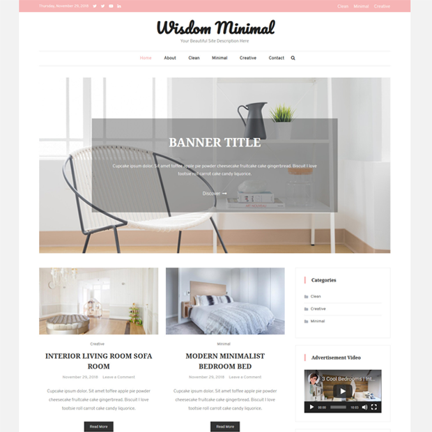 Clean Minimal Blogging WordPress Theme – Wisdom Minimal