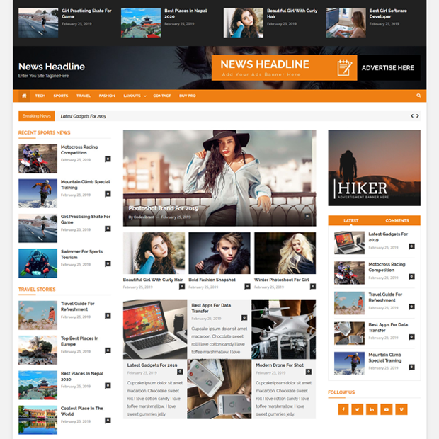 Creative Free Magazine WordPress Theme – News Headline