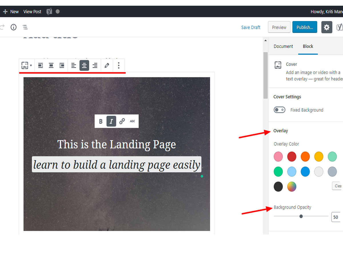 Adding-cover-block-to-build-a-landing-page