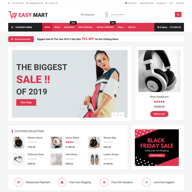Free Ecommerce WordPress Theme – Easy Mart