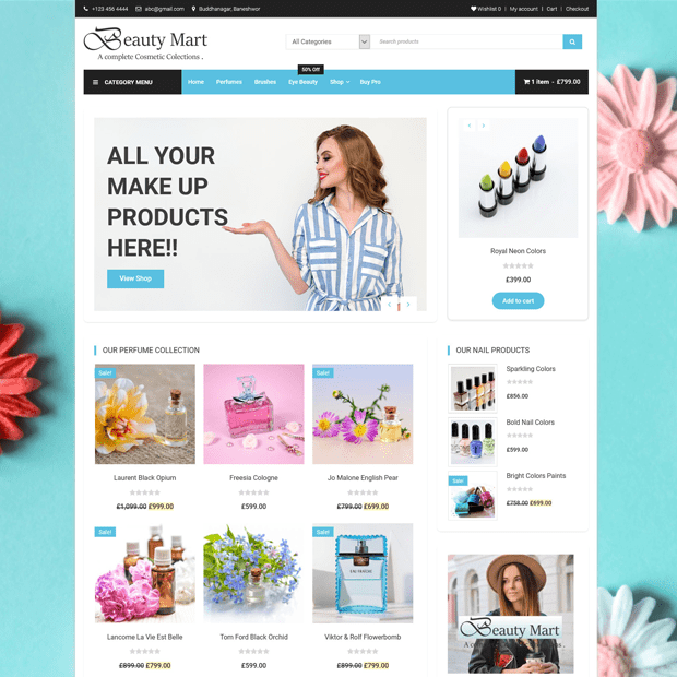 Free e-Store WordPress Theme – Beauty Mart