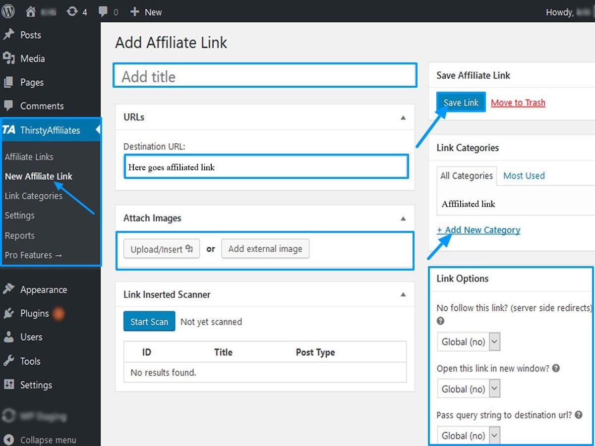 Add affiliate link Using Thirstyaffiliate