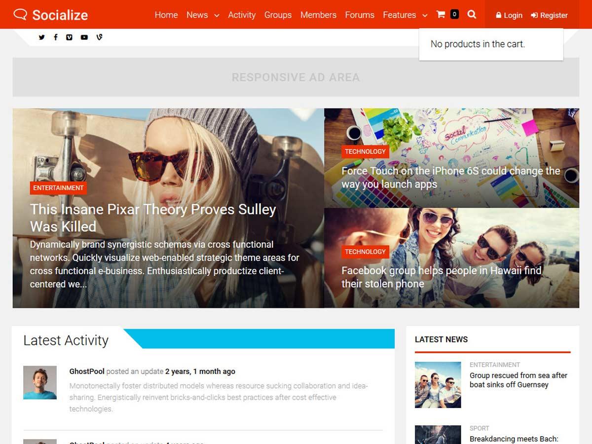 Socialize buddypress WordPress theme