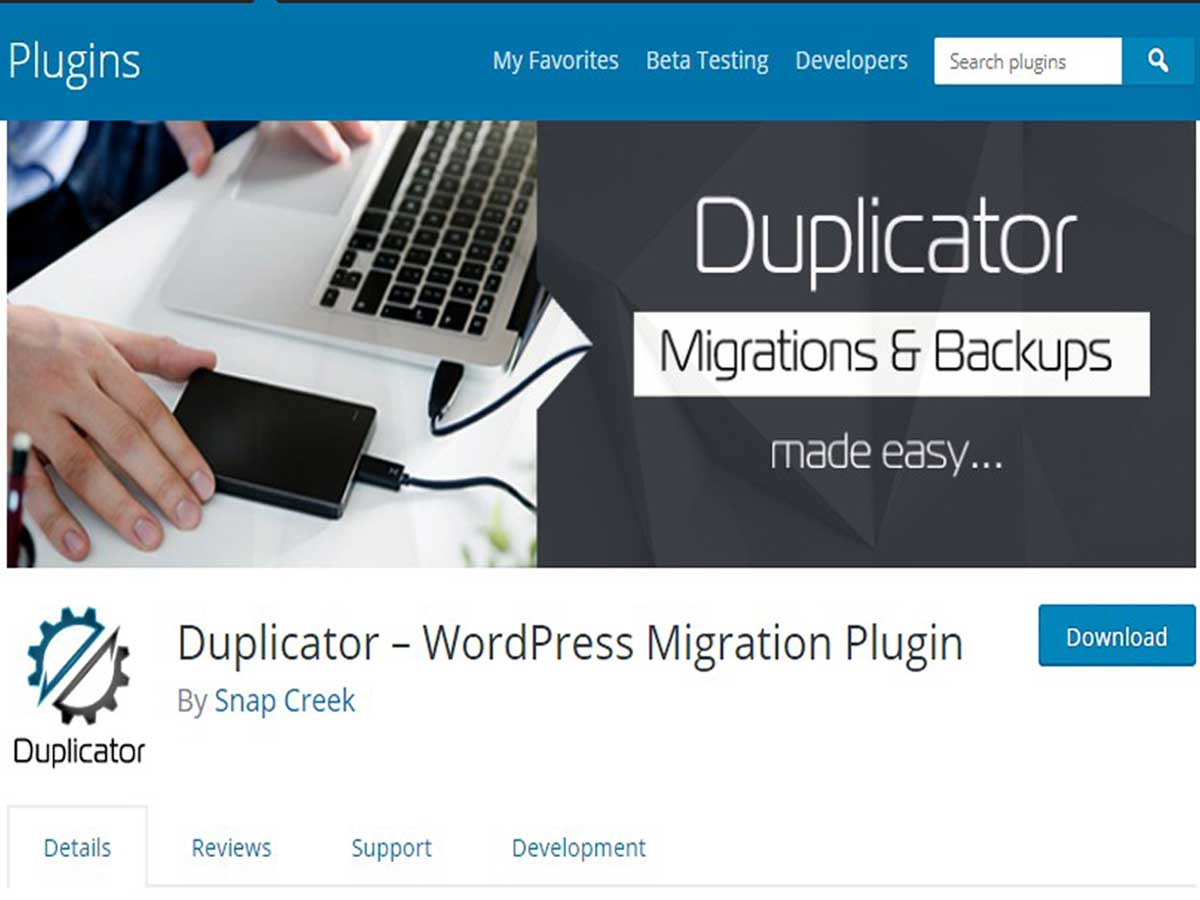 Duplicator WordPress migration plugin